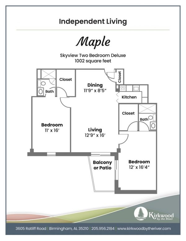 Kirkwood by the River maple floor plan