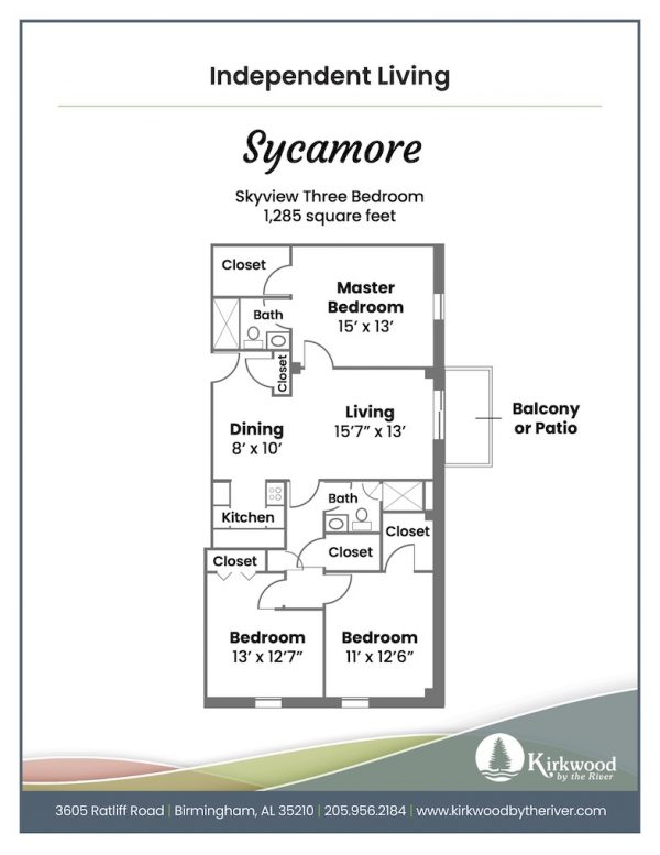 Kirkwood by the River sycamore floor plan