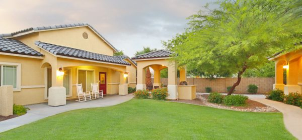 Visions Assisted Living at Mesa building exterior and entrance