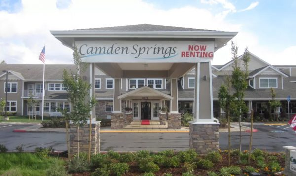 Camden Springs Gracious Retirement Living building front and covered entrance