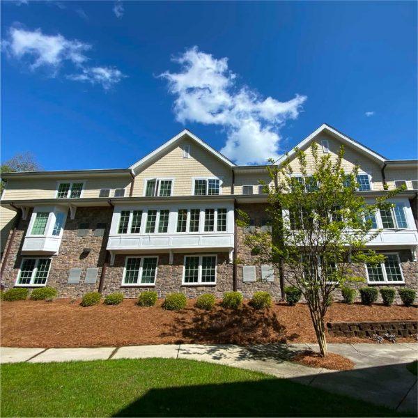 Brookridge Retirement Community building exterior and walking paths