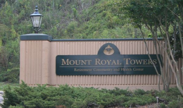 Mount Royal Towers entrance sign
