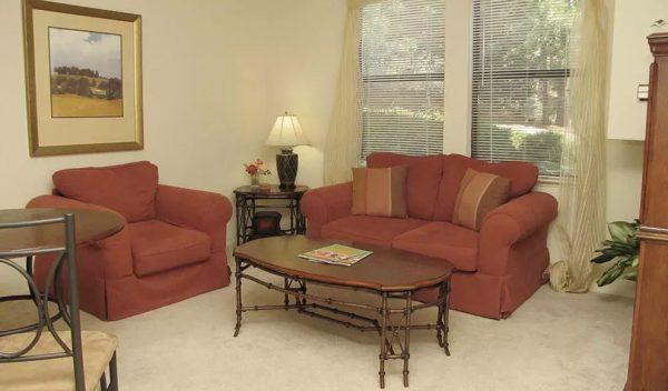 Hilltop Commons model living room