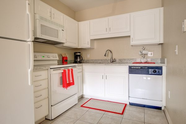 Fully equipped kitchen in a model apartment in Fountain View Village