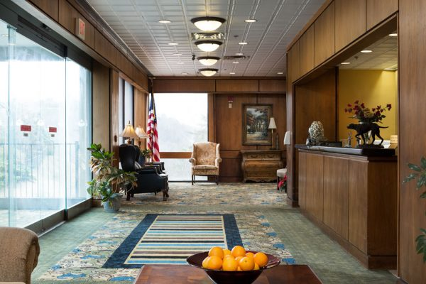 Lobby and reception desk inside Mount Royal Towers