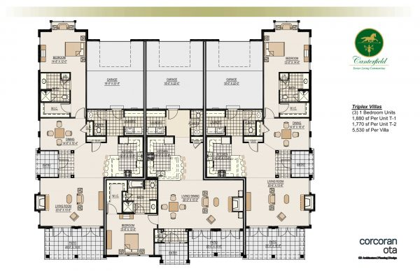 Canterfield of Bluffton 1 bedroom triplex floor plan