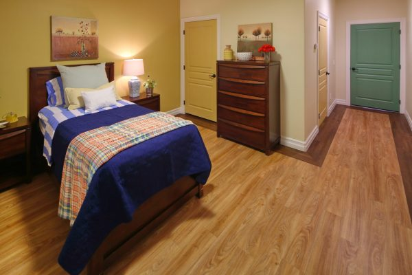 Model bedroom in Visions Assisted Living at Mesa