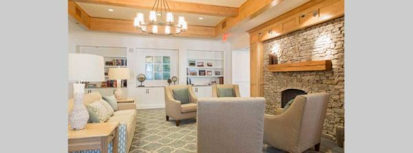 Fireside seating in the The Residence at Brookside common area