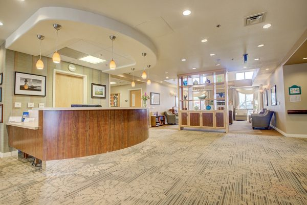 Fountain View Village reception desk and lobby