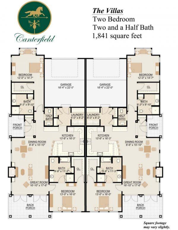 Canterfield of Bluffton 2 bedroom duplex floor plan