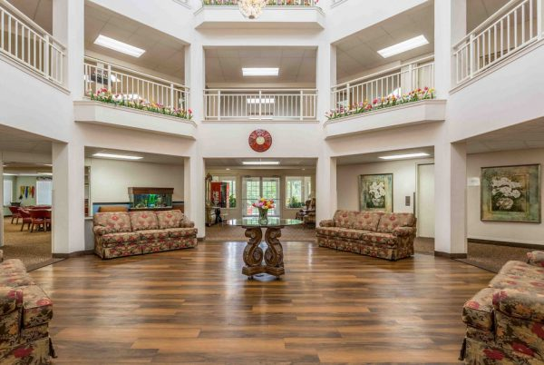 Two story foyer in the lobby of Apple Blossom