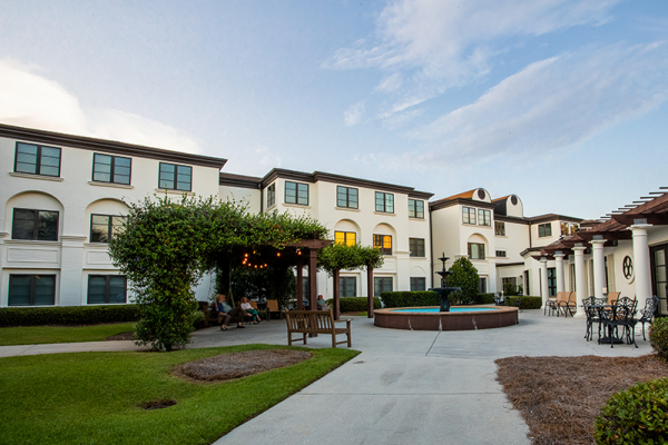 Exterior courtyard and fountain at Westminster Village