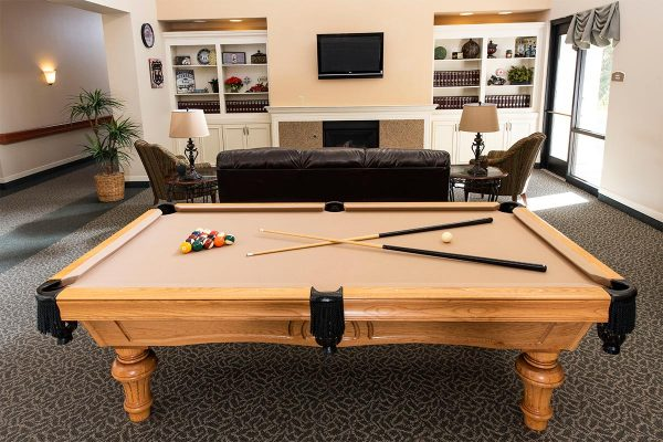 The Inn at Freedom Plaza community billiards room with a tan felt covered pool table and tv area