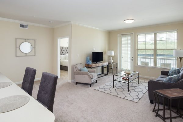Model apartment living room in The Blake at Malbis