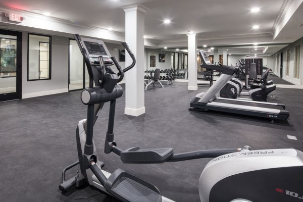 Fitness center with gym equipment in The Blake at Malbis