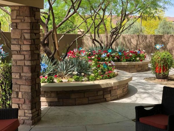 Mountain Park Senior Living outdoor gardens with raised flower beds