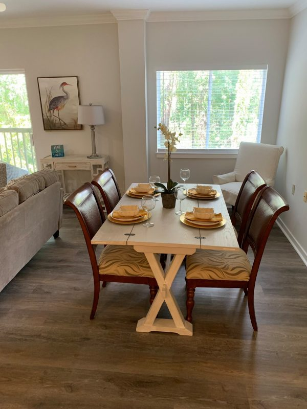 Model dining room in a unit at The Seabrook of Hilton Head