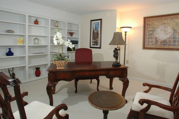 Large desk in a model unit at Mount Royal Towers