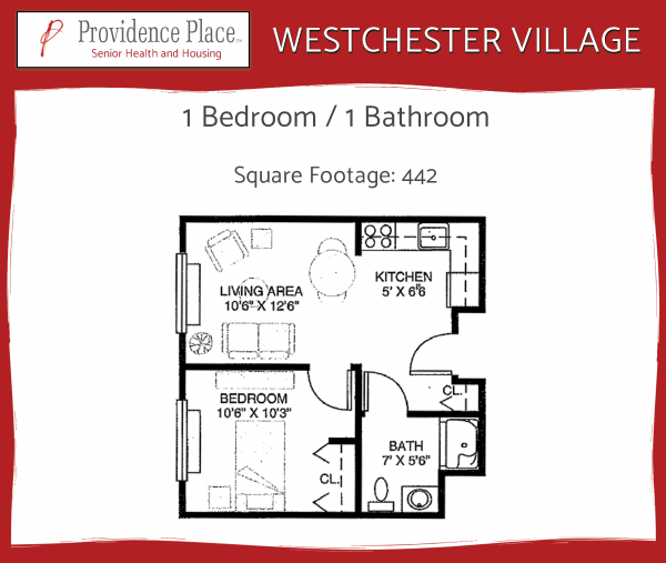 Westchester Village at Providence Place 1bed/1bath floor plan