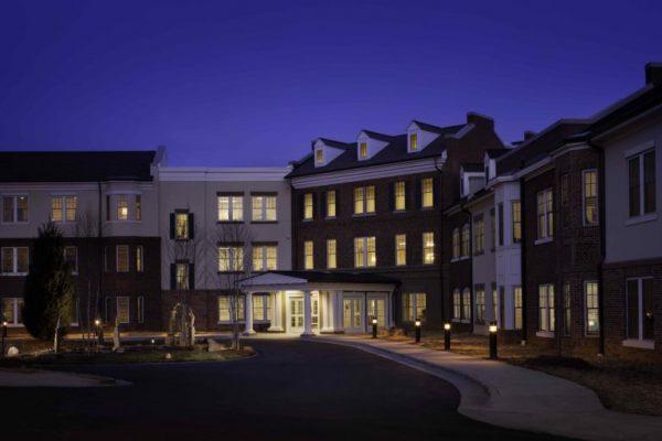 Arbor Acres United Methodist building exterior at night