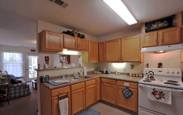 Model apartment kitchen in The Meadows at Brier Creek