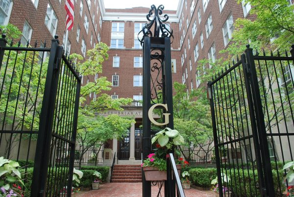 Gated entrance to courtyard at Greenbriar at the Altamont