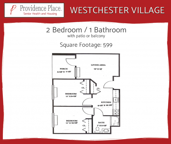 Westchester Village at Providence Place 2bed/2bath E floor plan