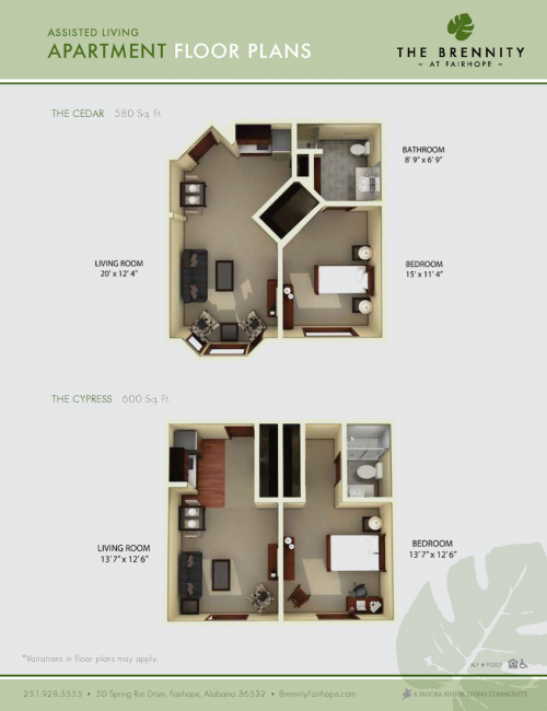 The Brennity at Fairhope assisted living floor plans 1