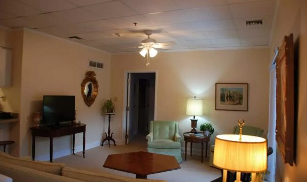Model living room in a unit at The Columbia Presbyterian Community