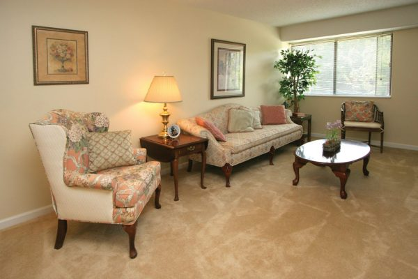 Mount Royal Towers model apartment living room