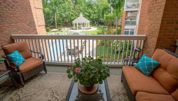 Galleria Woods apartment balcony overlooking grounds and pool