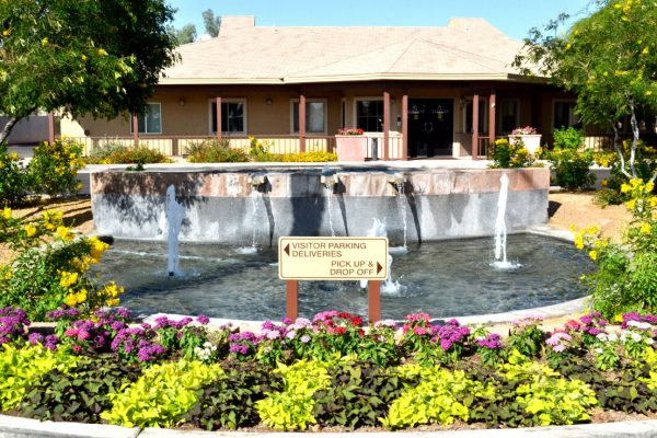 Flower beds and water fountains on the grounds of Sunshine Village