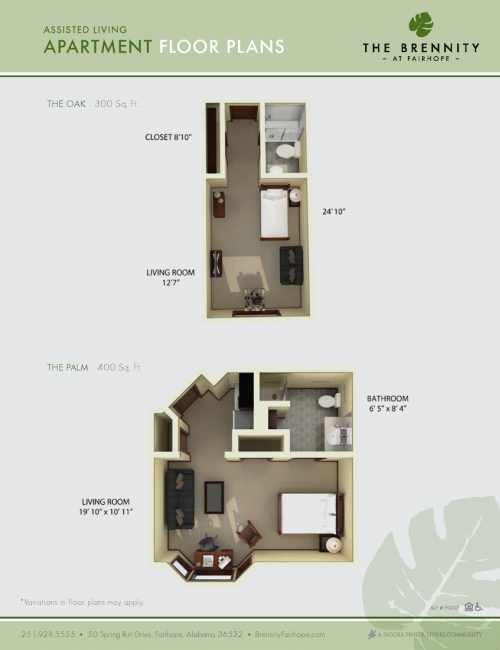 The Brennity at Fairhope assisted living floor plans 2