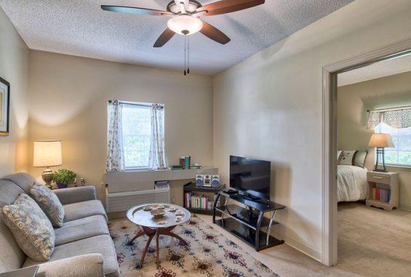 Model apartment living room in Autumn Cove