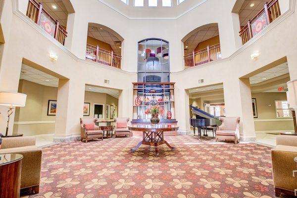 Two story foyer in the lobby of Fountain View Village