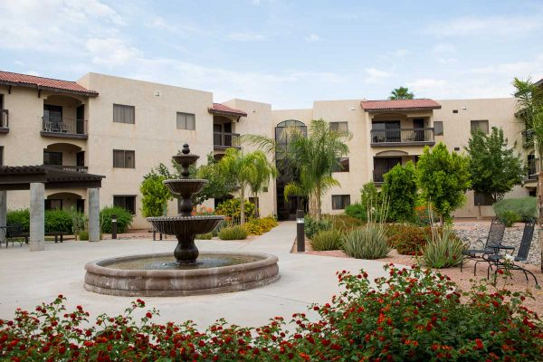 Sierra Winds courtyard and three tiered water fountain