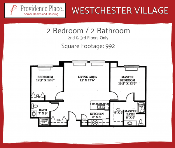 Westchester Village at Providence Place 2bed/2bath C floor plan