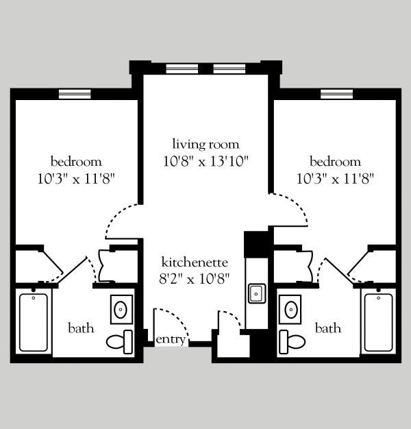 Addison Place at Glastonbury 2 bedroom floor plan