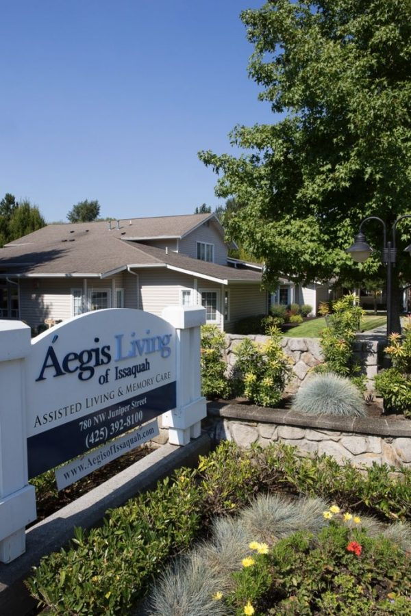 Building exterior and entrance sign to Aegis Living Issaquah