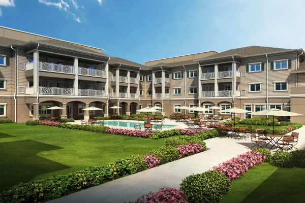 Exterior gardens at American House Senior Living Communities