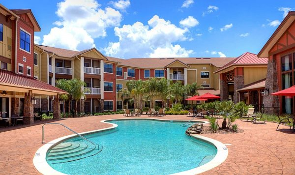 Swimming pool and outdoor area at American House Senior Living Communities