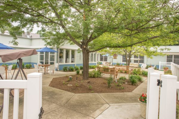 Resident courtyard with trees and benches at Annapolitan Assisted Living