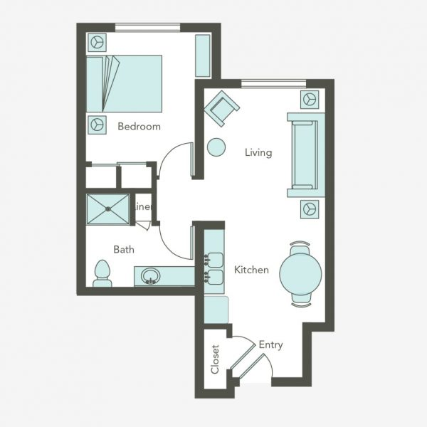 Aegis Living Bellevue 1 bedroom floor plan