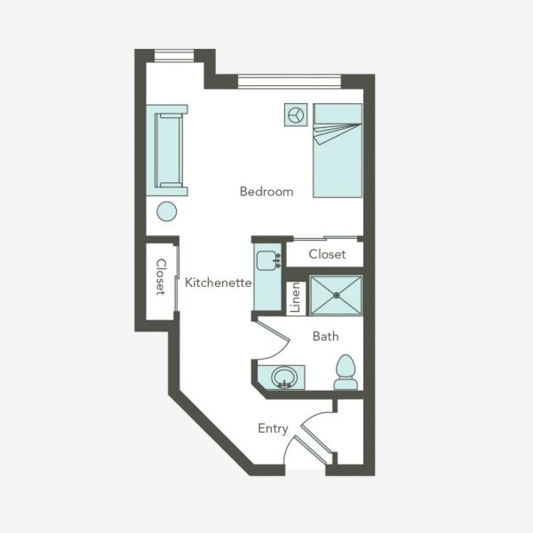 Aegis Living Bellevue large studio floor plan