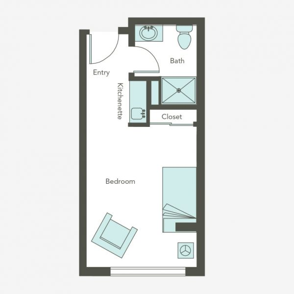Aegis Living Bellevue studio floor plan