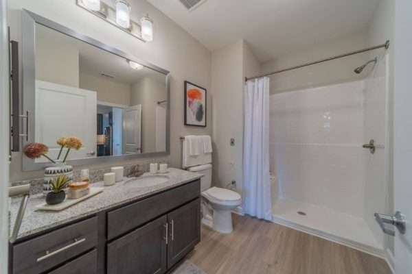 Resident bathroom with walk in shower in an apartment at Belvedere at Berewick