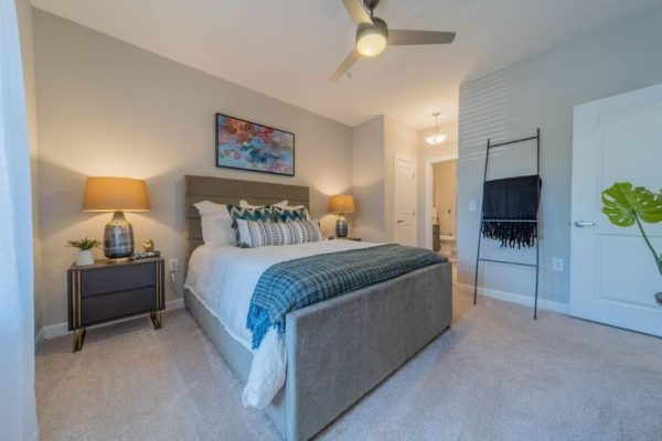 Bedroom with ceiling fan at a Charlotte NC active adult community