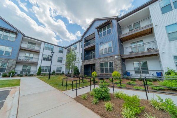 Accessibility ramp and senior apartment exterior
