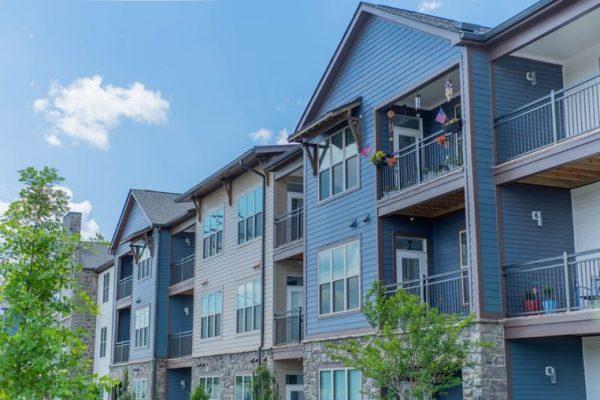 Senior apartment balconies at Belvedere at Berewick