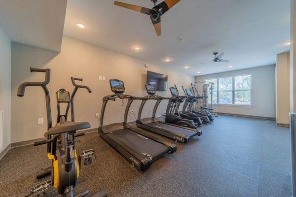 Senior community fitness center with exercise equipment